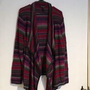 Lauren Ralph Lauren Striped waterfall sweater XL